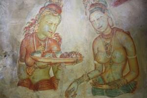 Wolkenmädchen in Sigiriya (1500 Jahre alte Freskenmalerei)